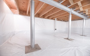 Crawl space structural support jacks installed in Clinton