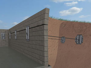 A graphic illustration of a foundation wall system installed in Blountville