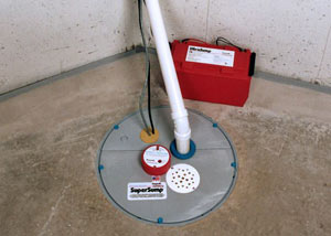 A sump pump system with a battery backup system installed in Blountville