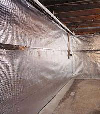 Radiant heat barrier and vapor barrier for finished basement walls in Morristown, Tennessee